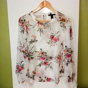 Forever 21 Floral Romantic Sheer Long Sleeve Top